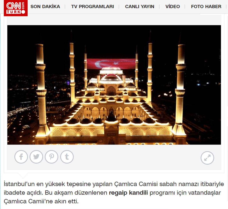 Basında Çamlıca Camii - CNN Türk