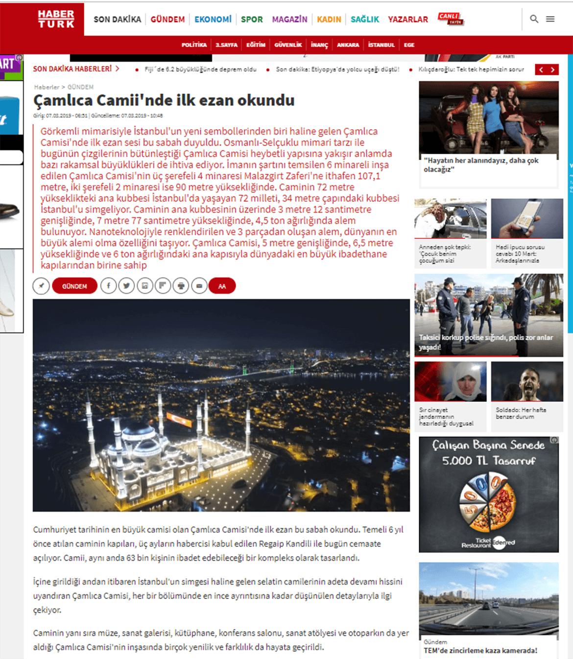 Basında Çamlıca Camii  Haber Türk